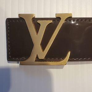"""Louis Vuitton """"Latte"""" Patent Leather Belt 40/100"""